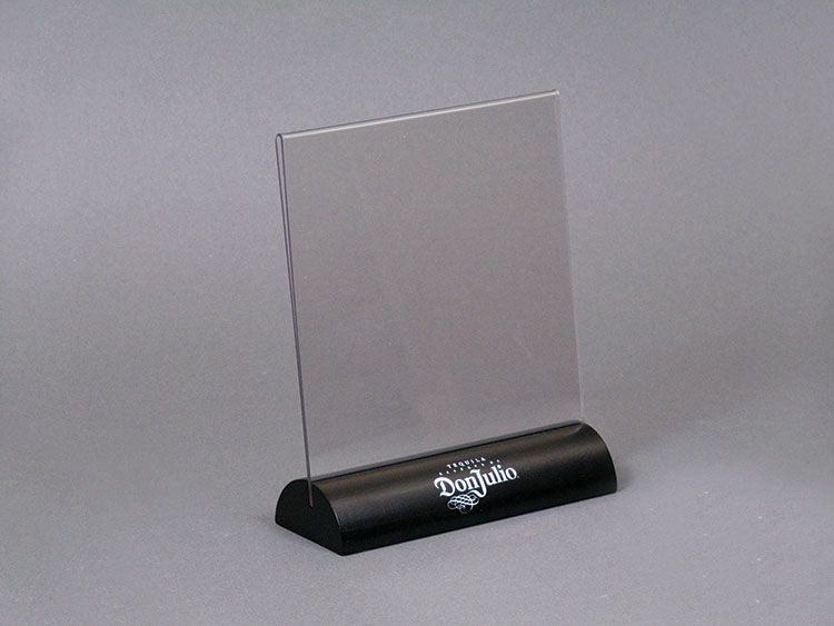 Stock Table Tent With Wood Base 1 Color Imprint Sign Holder