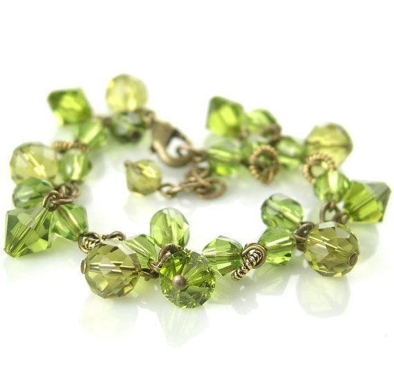 Olive Green Bracelet Antique Gold Swarovski by DorotaJewelry