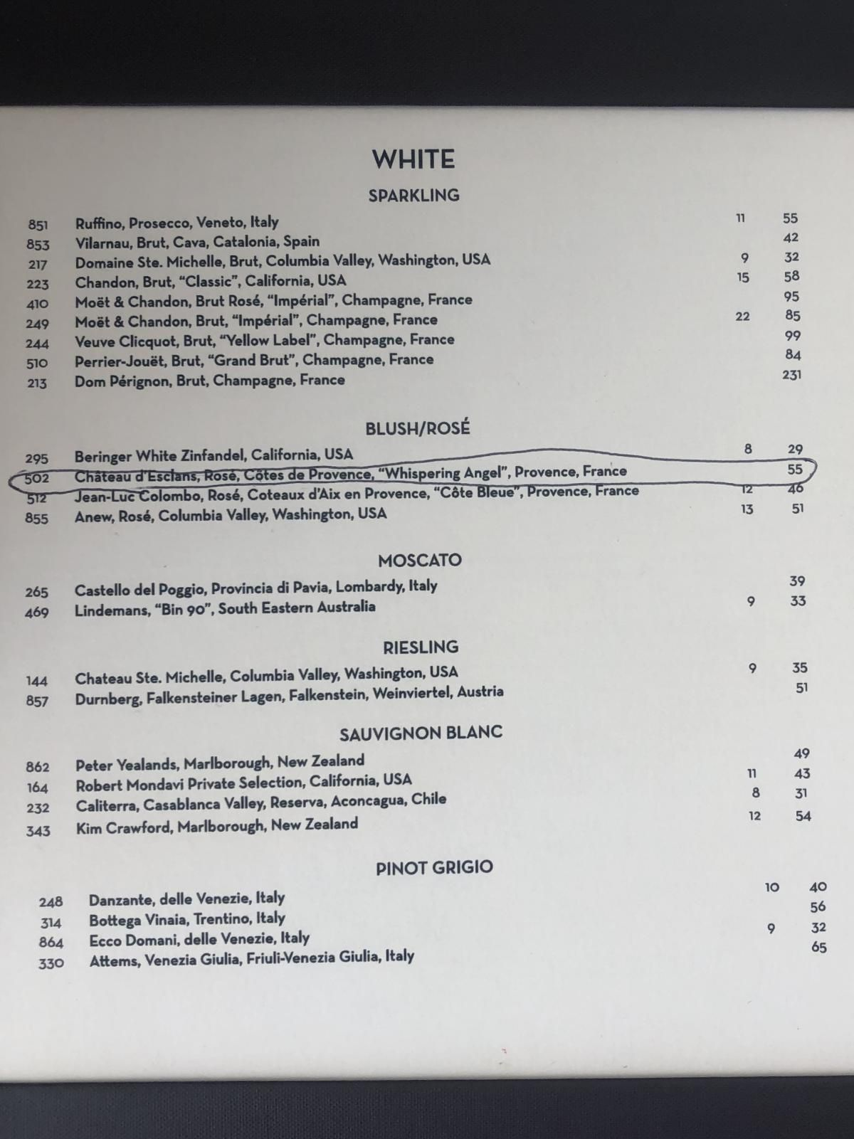 Coastal kitchen drink menu wine menu Royal Caribbean in