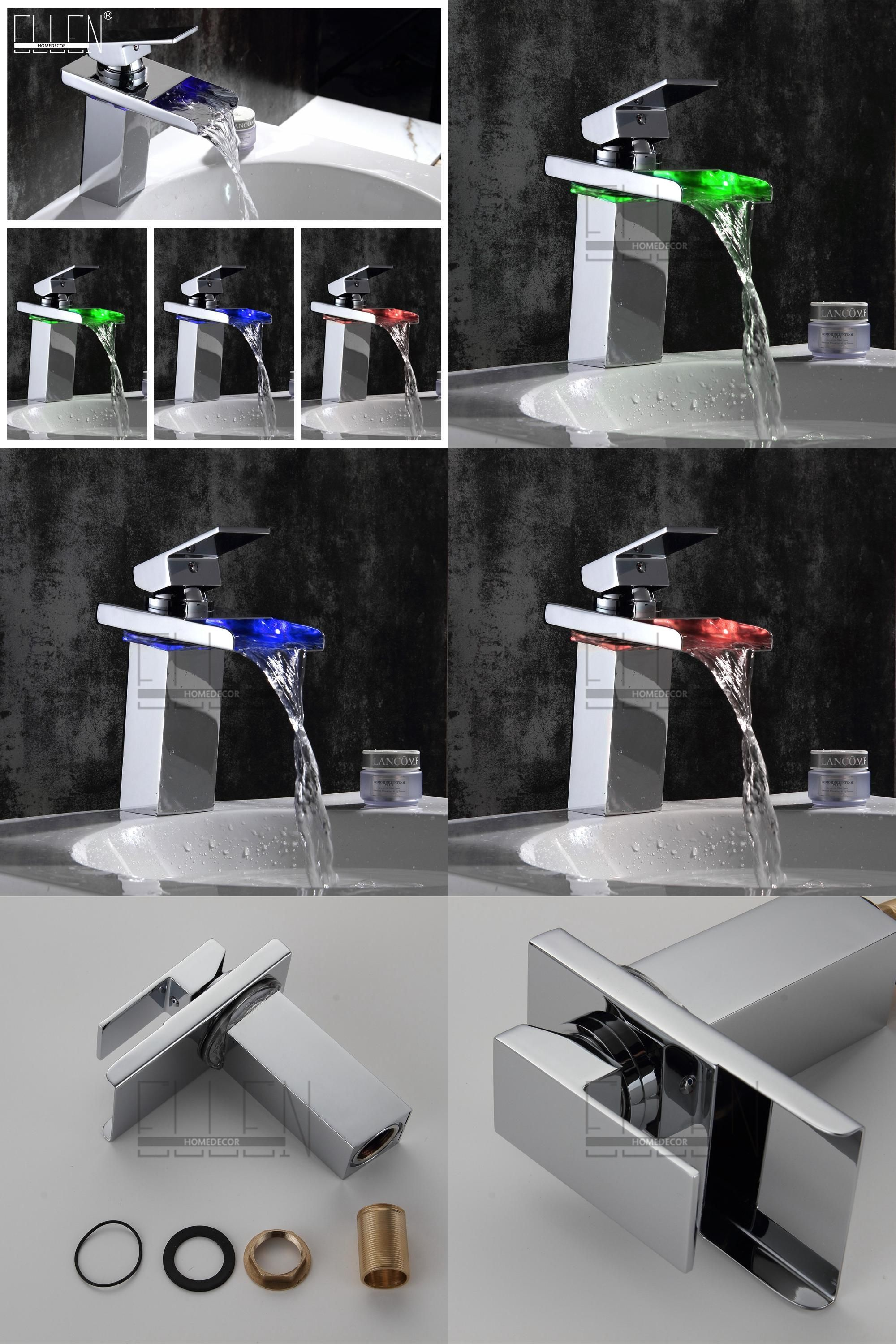 Visit to Buy] Deck Mounted LED Waterfall Bathroom Basin Faucet Water ...