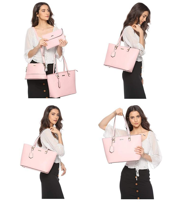 947fa0adc3a3 ELIMPAUL Women Fashion Handbags Tote Bag Shoulder Bag Top Handle Satchel  Purse Set 4pcs.  Valentine  gift  forher  pink  fashion (This post contains  ...
