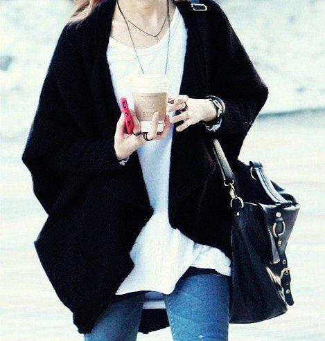 Black Oversized Chunky Knit Cardigan Sweater - Asymmetric ...