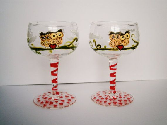 Owl Lovebirds  handpainted set of 2 minigoblet style by InkyDreamz, $30.00