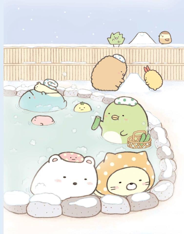 すみっこぐらしと雪見温泉の壁紙