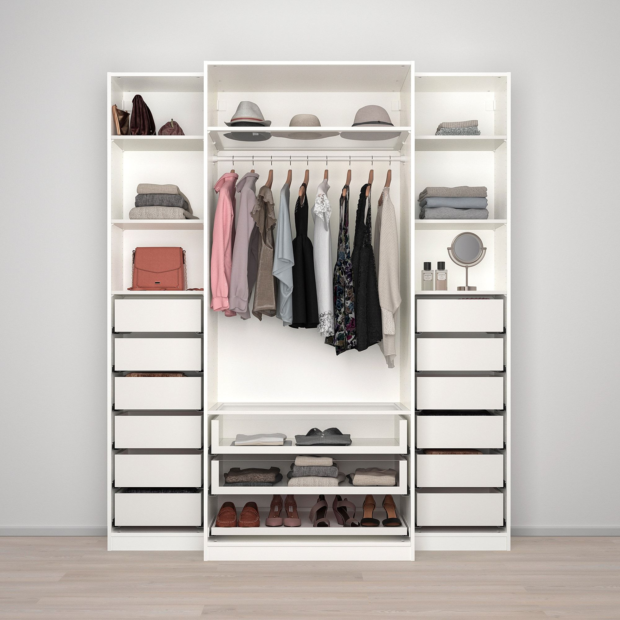 Ikea Guardaroba Pax Planner.Pax Wardrobe White Tyssedal Glass 78 3 4x23 5 8x93 1 8 In