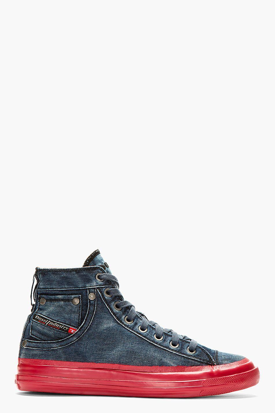 the best attitude 3ed8f edb00 DIESEL Blue Denim Contrast Sole Exposure High-Top Sneakers