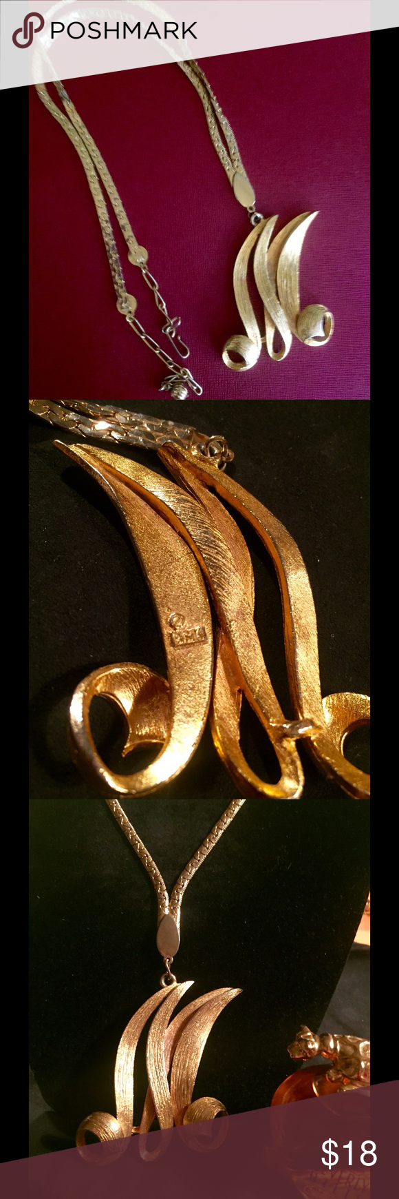 Reduced More Vintage Drop Necklace Flower Design with Tassels