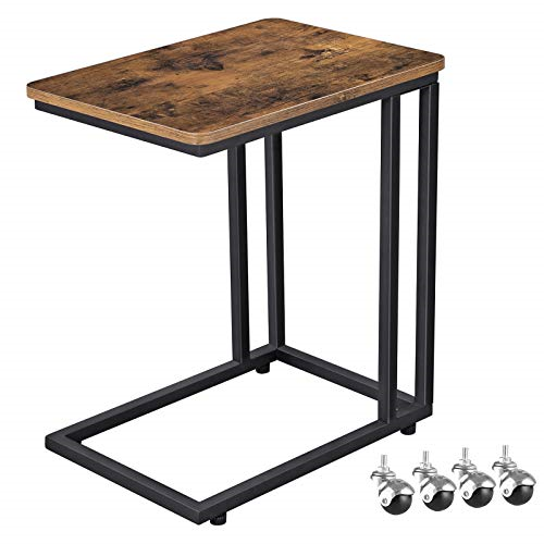 Vasagle Industrial Side Table Mobile Snack Table For Coffee Laptop Tablet Next Kitchen Sofa In 2020 Industrial Side Table Rustic Industrial Coffee Table Snack Table