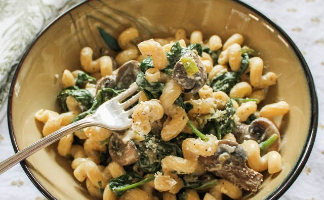 Creamy Chevre Pasta with Spinach and Mushroom. The easiest sauce you'll ever make - only 2 ingredients!