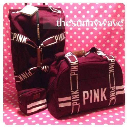 New victoria secret pink 3 piece set wheelie luggage suitcase ...