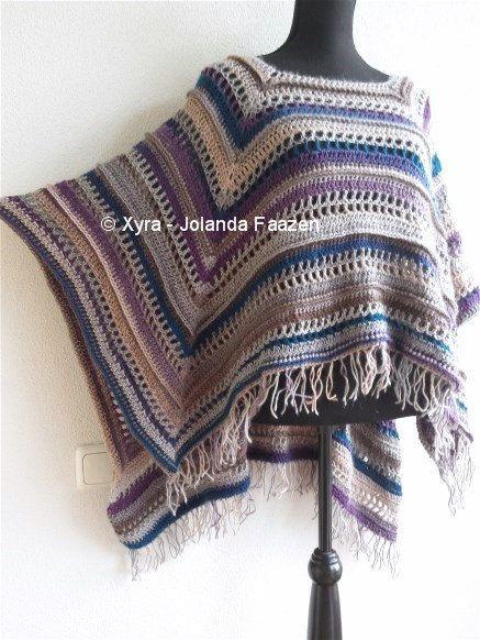 Patr1033 Xyra Crochet Pattern Rectangular Poncho With Long Back English Us Dutch Crochet Ponchos Patrones De Poncho De Ganchillo Y Poncho Con Mangas