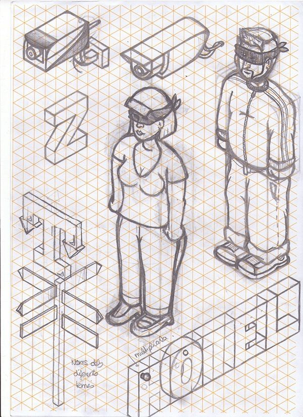 Sketches on a isometric reticle paper! Dont like the lines when im - lines paper