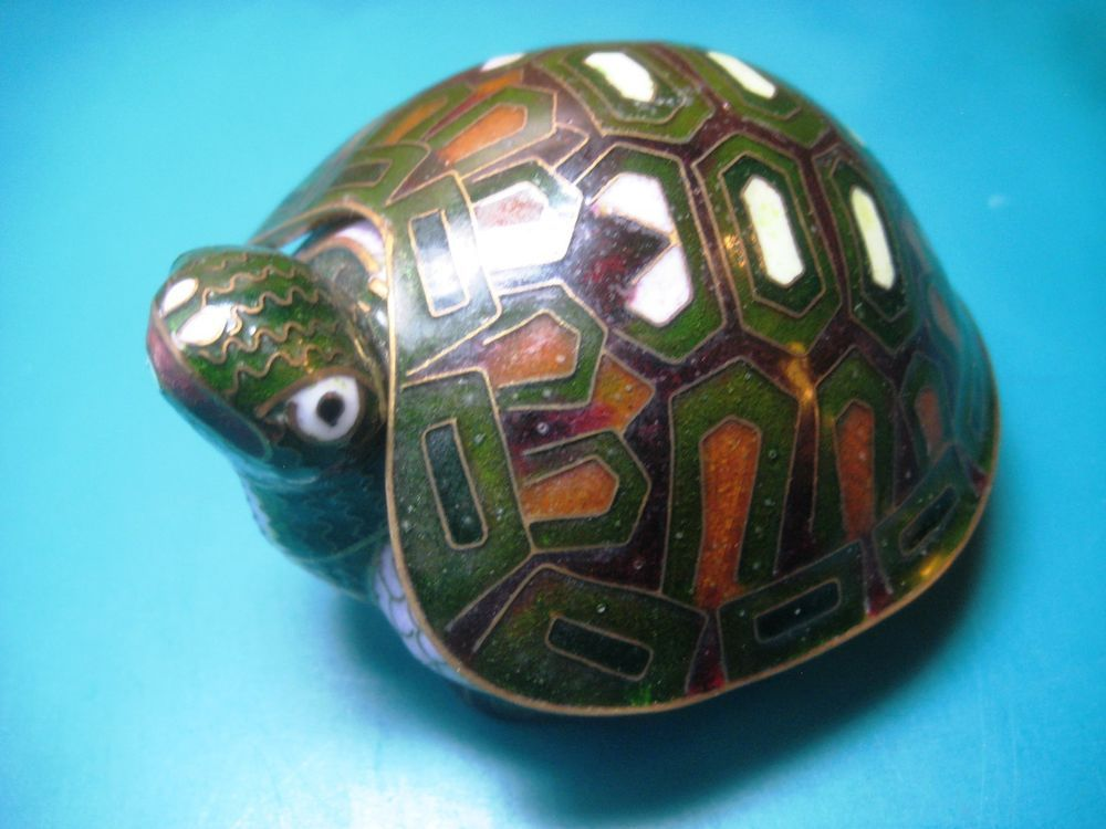 Cloisonne Figurine Vintage Turtle Trinket Box Black
