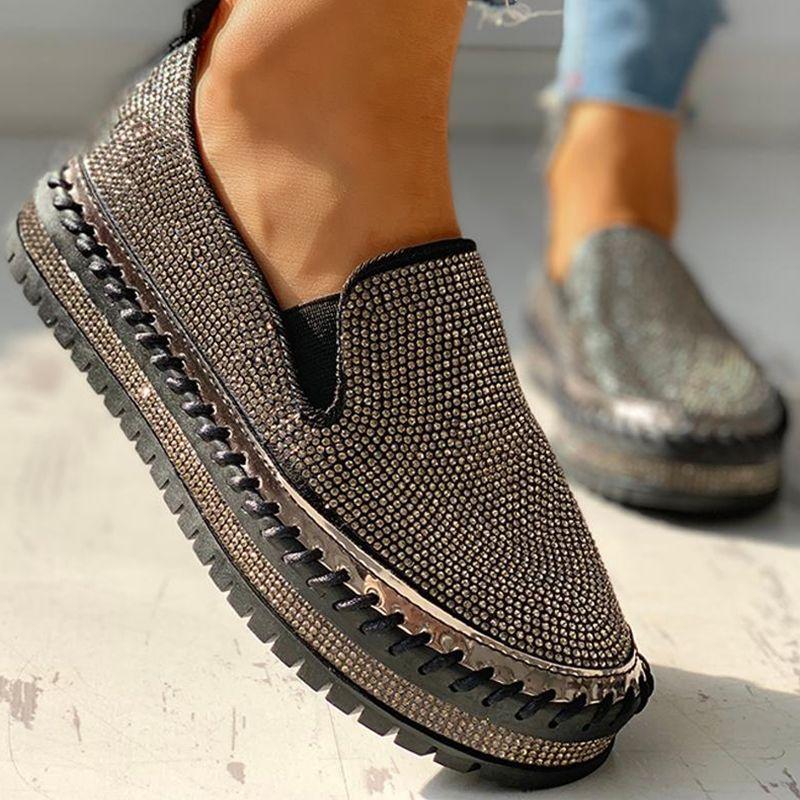 Women Casual Fashion Rhinestone Slip On Loafers Fashion Shoes Casual Fashion Womens Fashion Casual