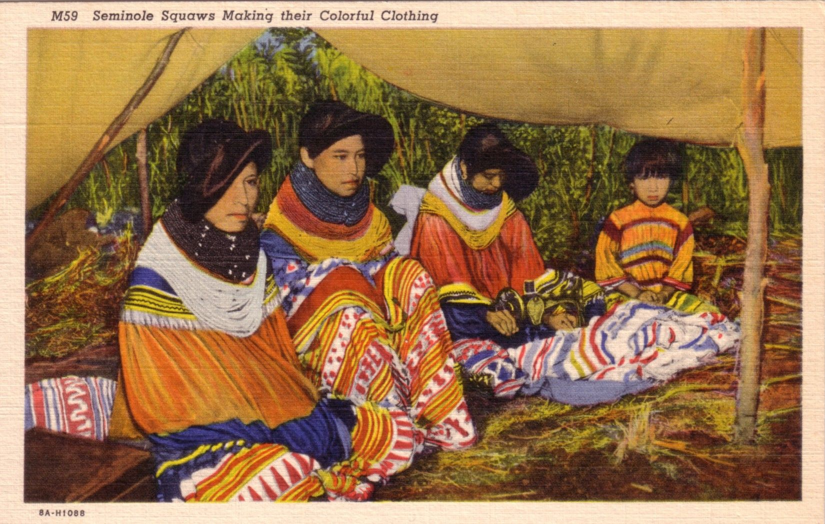 Seminole girls sewing. 1930s/40s.  Although that might be a boy on the right.  Notice the distinctive hair style that the girls wear, which is made by putting their hair over a cardboard form.  This was copied from women's hats in the 1920s.  It would also work like a sun visor.