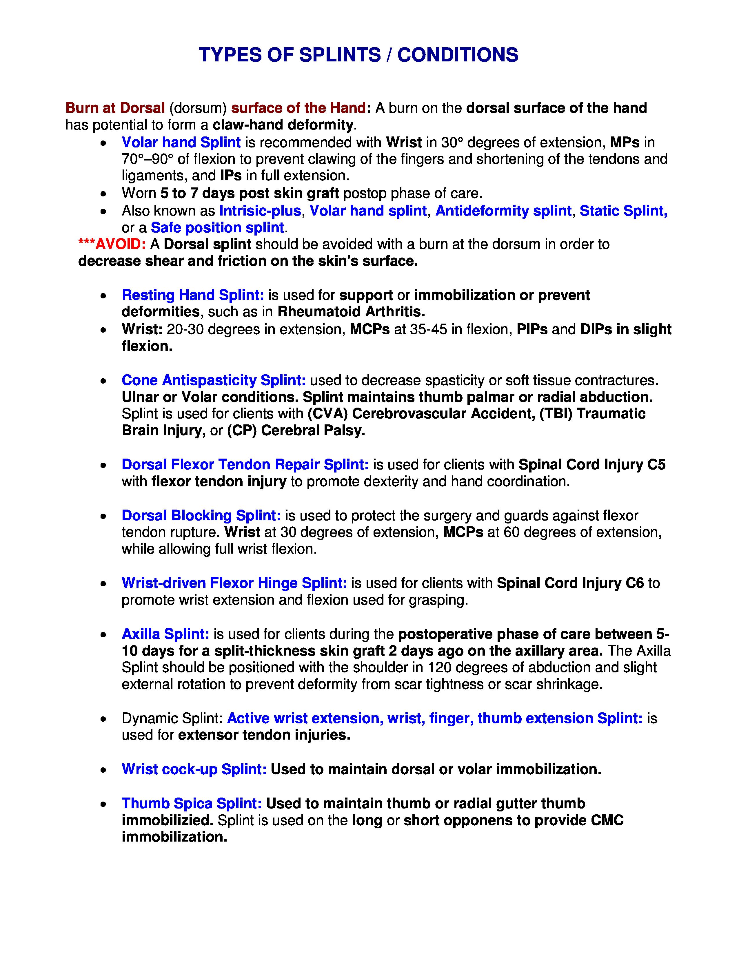 Types Of Splints Conditions