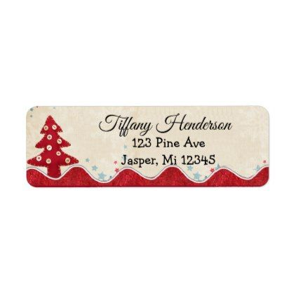 Christmas Tree Country Button Return Address Label christmas cards