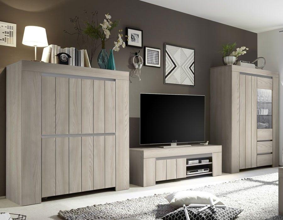 Ensemble meuble TV contemporain couleur bois gris VENEZIA 3
