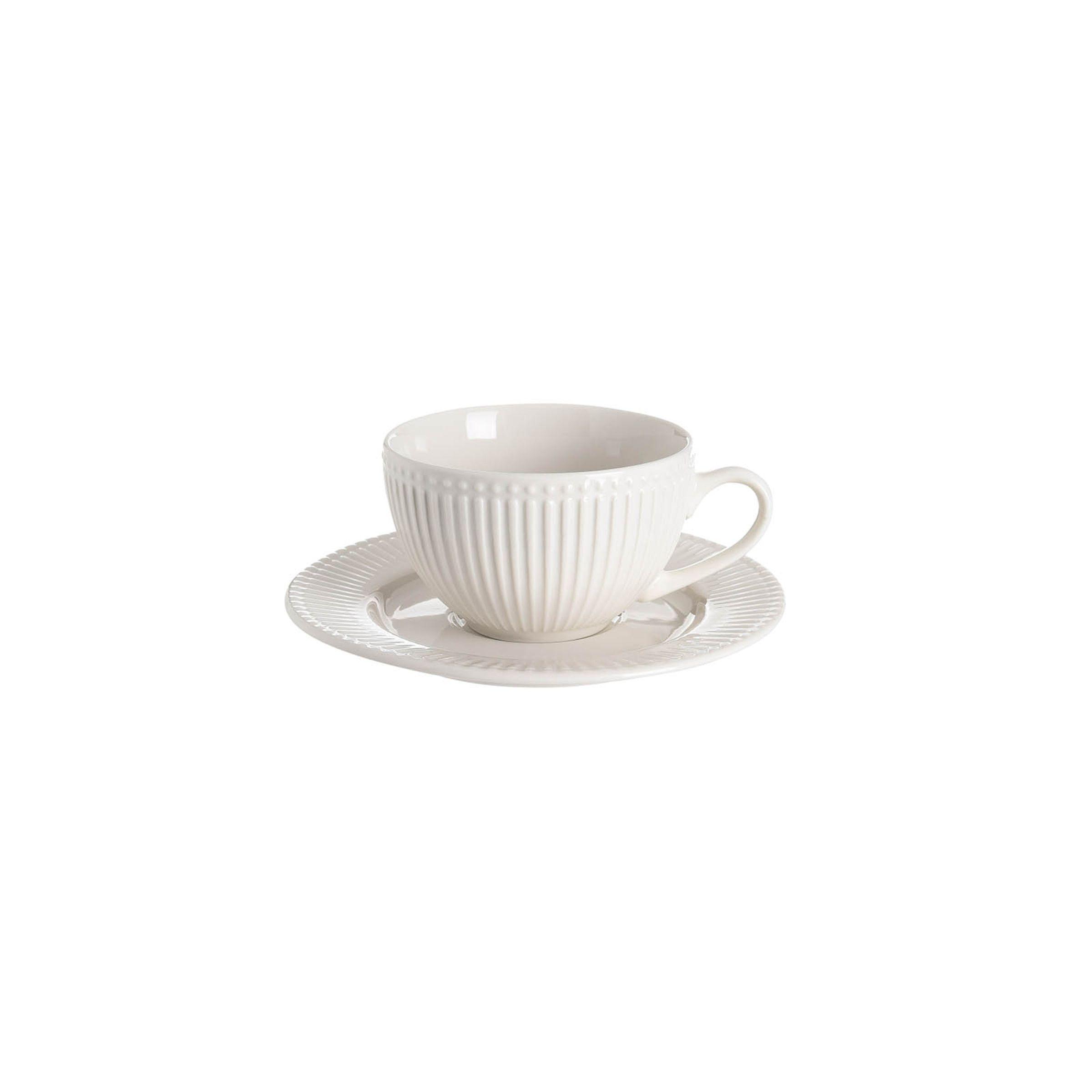 Kaffeetasse Relief mit Untertasse, 250ml, creme