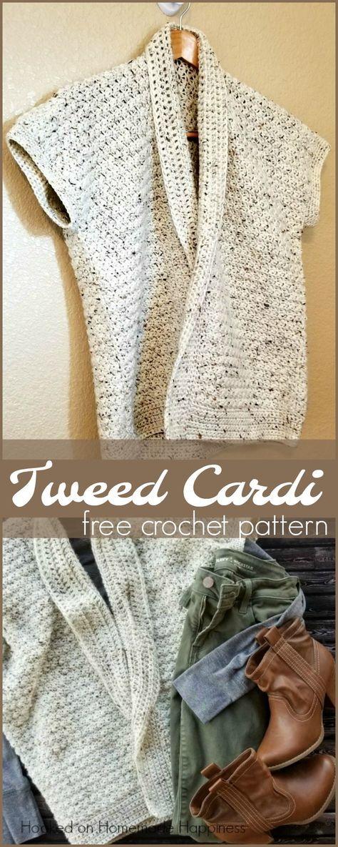 Tweed Cardi Crochet Pattern | Tejido, Cuellos tejidos y Tejidos de punto