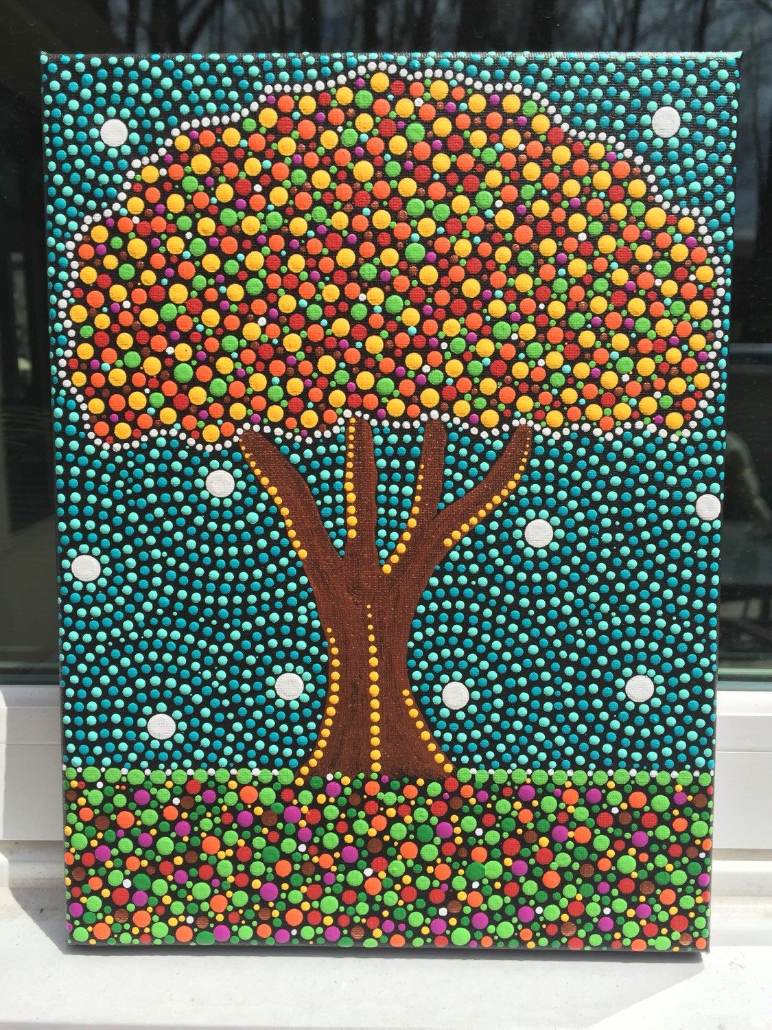 9x12 Inches Skittles Tree Dot Art Dot Painting Mandala