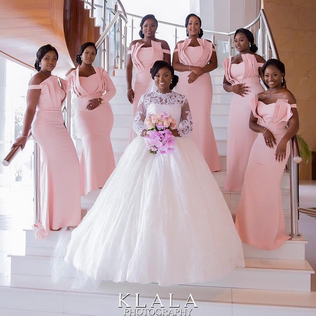 Ghana Wedding Vendors On Instagram Fab2018 Congrats Folake Ademola Mua An Wedding Bridesmaid Dresses Wedding Guest Gowns Off Shoulder Bridesmaid Dress