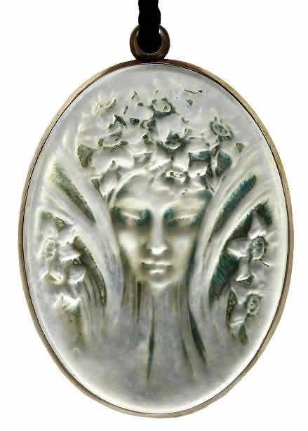 Lalique 1919 Mirror Tete Pendant |oval/ rare w/mirror back