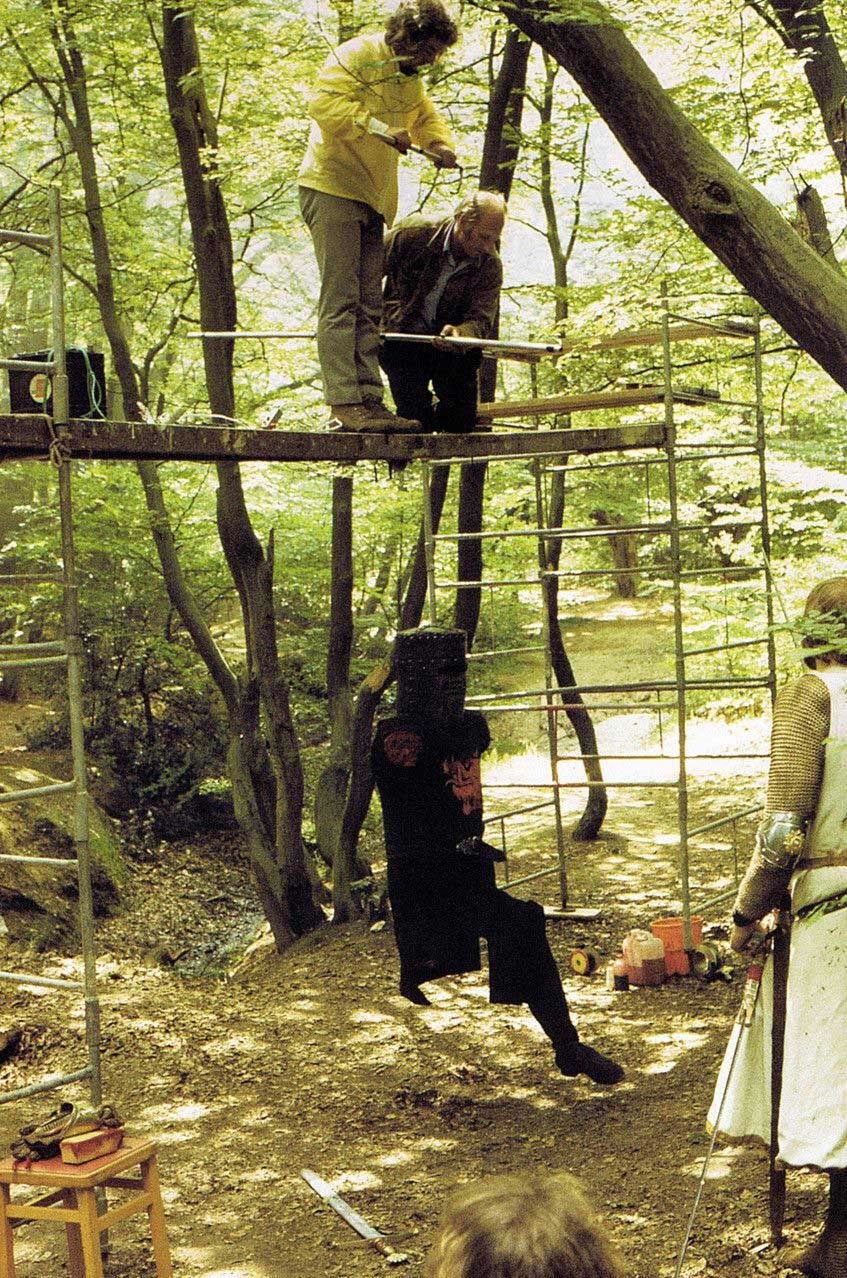 Filming the Black Knight scene in #MontyPython & the Holy Grail (1975). Have you seen our Tis But A Scratch tee?
