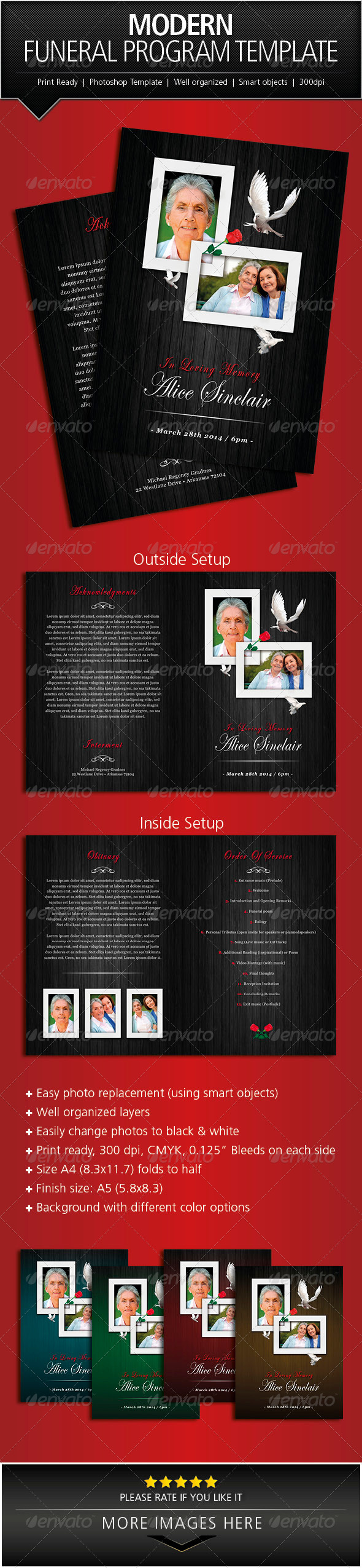 Modern Funeral Program Brochure Template  Brochure Template