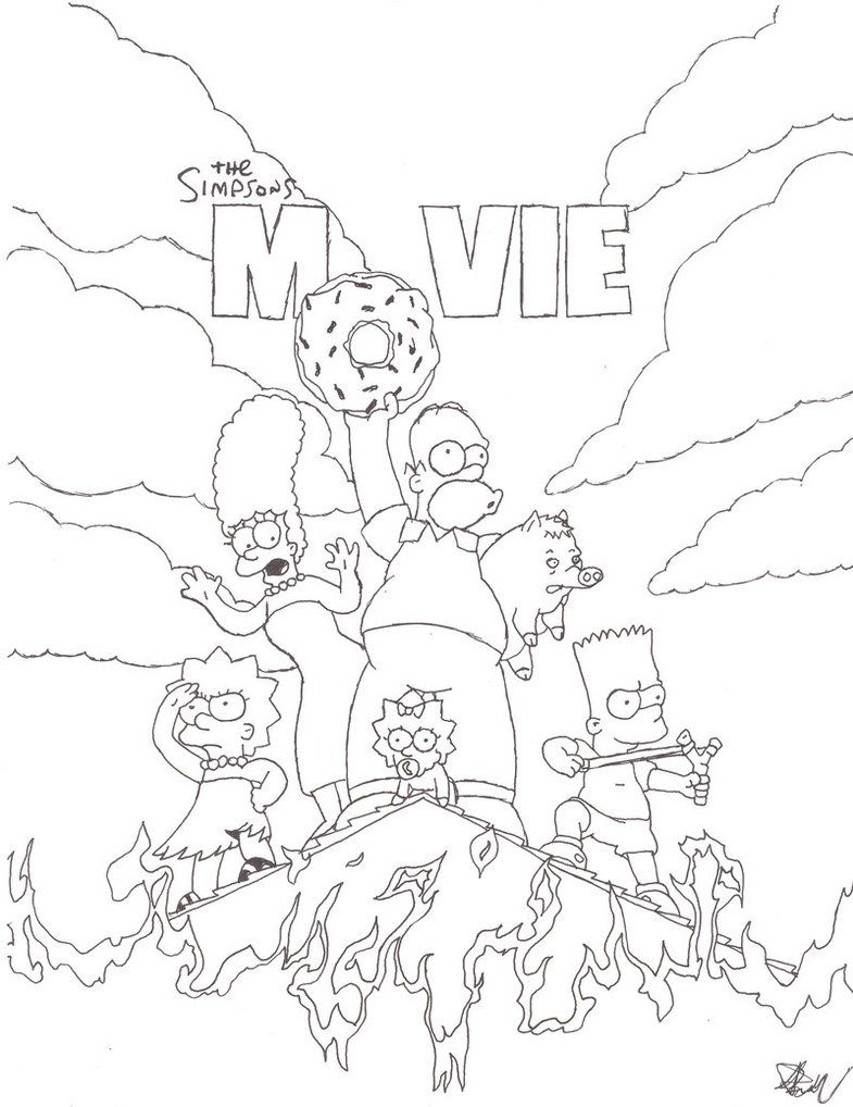 Black And White The Simpsons Movie Coloring Pages Black And White