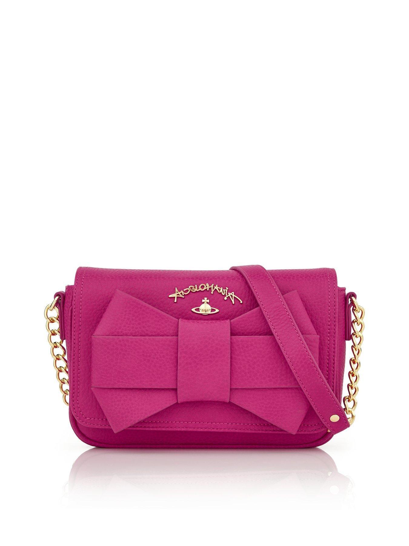 f67871ede4 VIVIENNE WESTWOOD Bow Chain Shoulder Bag - PinkSize   Fit Dimensions   Height  16 cm x Width  22 cm x Depth  5 cm Handle drop  27.5 cm Details Bow  Chain ...