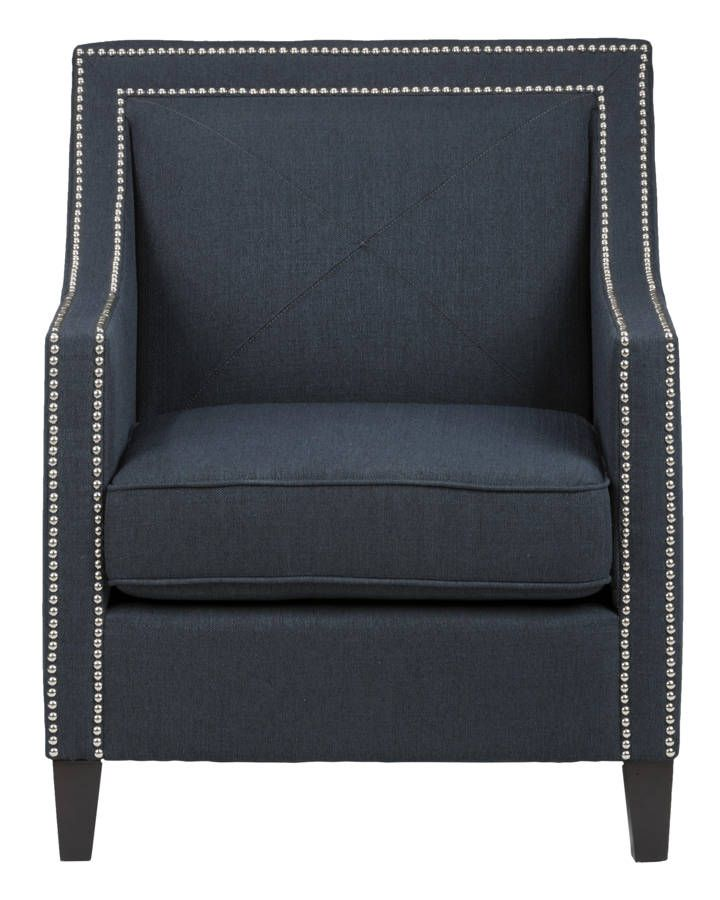 Admirable Luca Transitional Abington Indigo Accent Chair W Silver Onthecornerstone Fun Painted Chair Ideas Images Onthecornerstoneorg