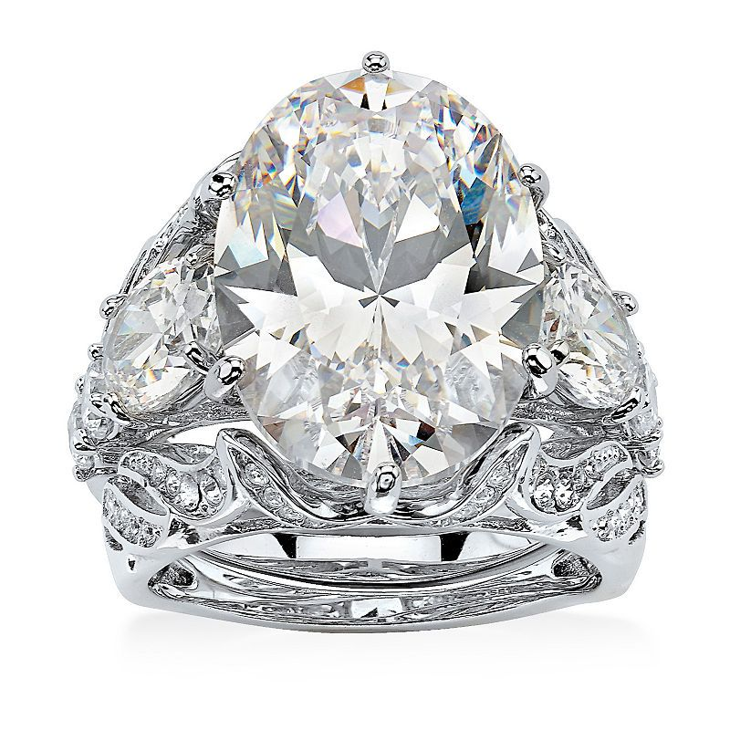 Diamonart Womens White Cubic Zirconia Platinum Over Silver Bridal Set Bridal Ring Sets Fashion Rings Bridal Rings