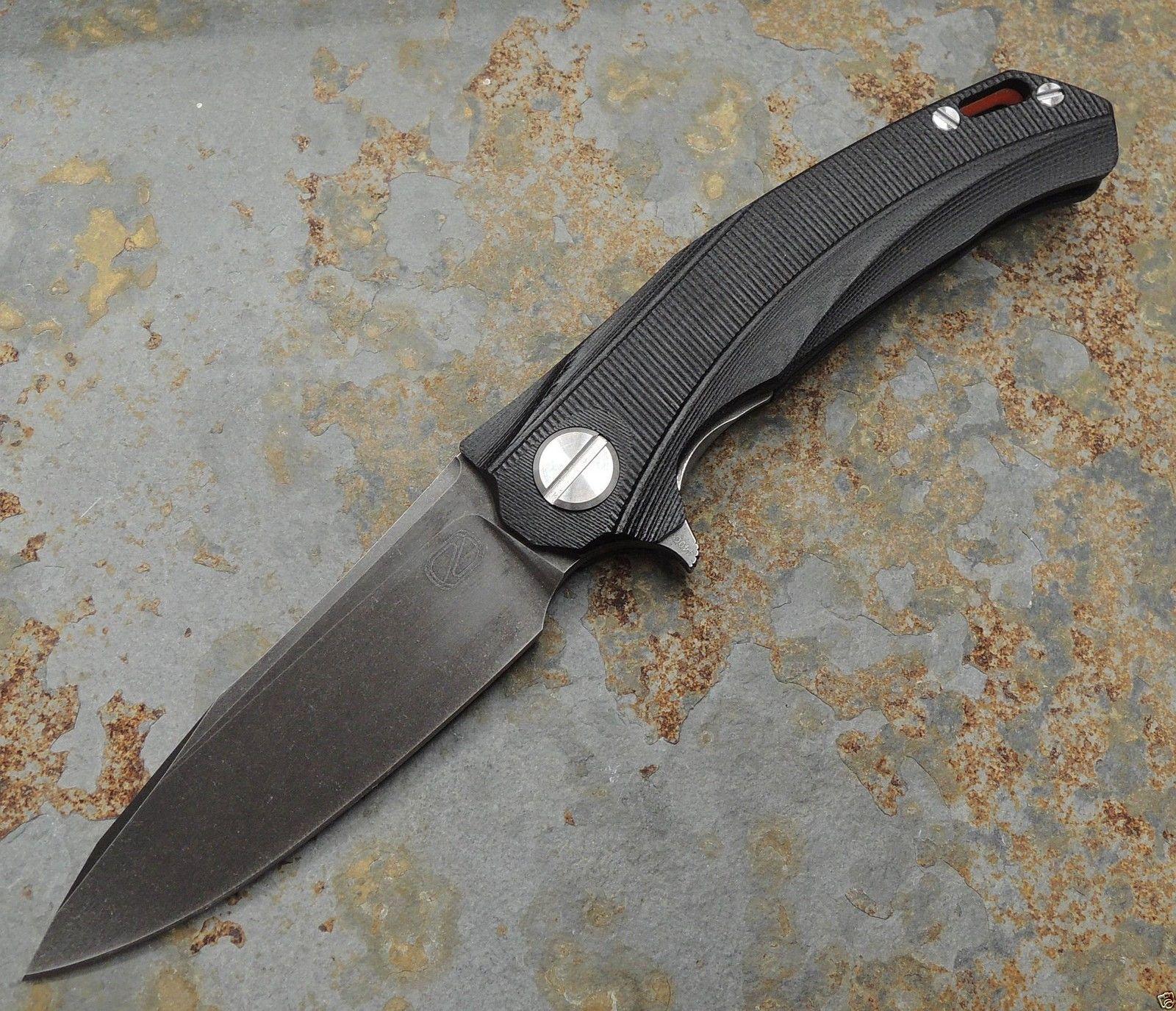 Stedemon Knife Company ZKC D01 ALL Black Flipper 440C Stahl Kugellager G10 Griff   eBay