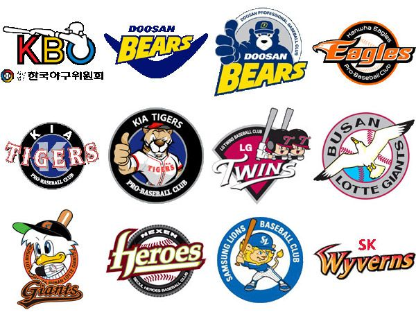 south korean professional baseball teams logos all about korea rh pinterest com baseball team logos from around the world baseball team logos and names