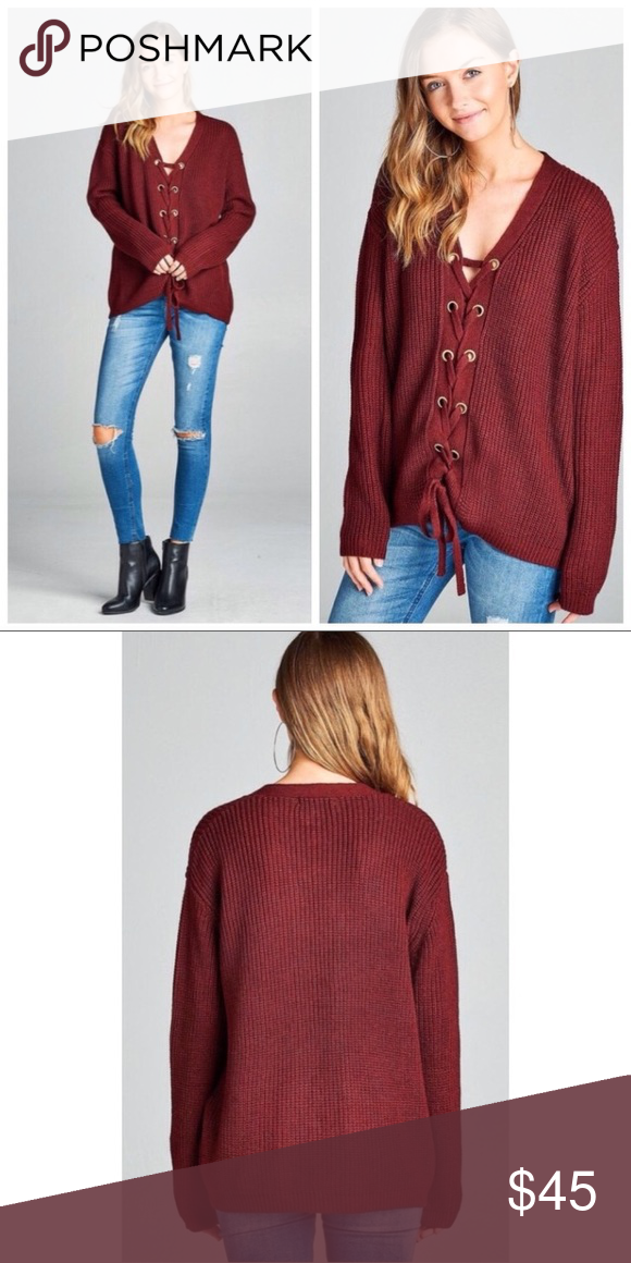 Burgundy Lace Up Grommet Sweater Boutique | Burgundy color, Fall ...