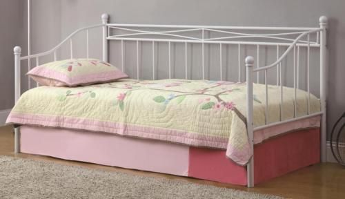 Casual Twin Daybed with White Metal Frame