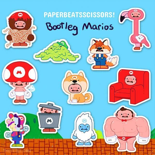 Bootleg Mario Sticker Pack Bootleg Yetee Stickers