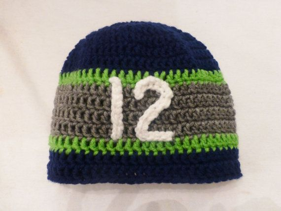 Seattle Seahawks Inspired 12th Man Mens Beanie by CrochetHurray ... 19480786f