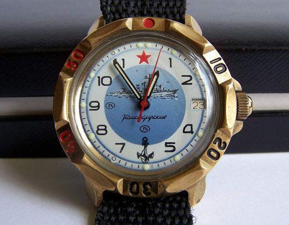 dbe1db32dfd5 Vintage Watches Collection   Soviet Watch Vostok Komandirskie. Russian Mens  Mechanical Wristwatch. Water Resistant Date Calendar