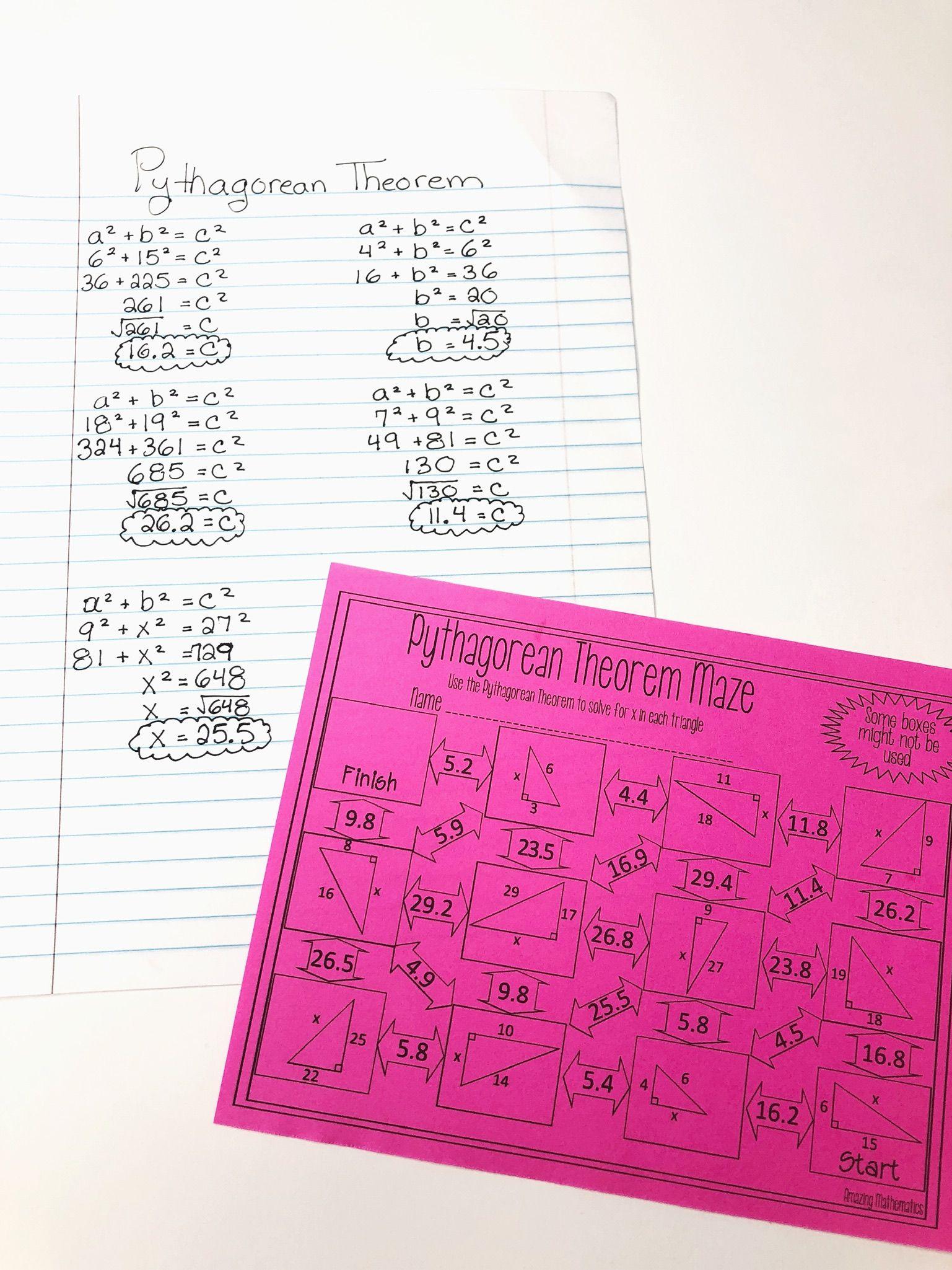 Pythagorean Theorem Worksheet Maze Activity Pythagorean Theorem Triangle Worksheet Geometry Worksheets [ 2049 x 1537 Pixel ]