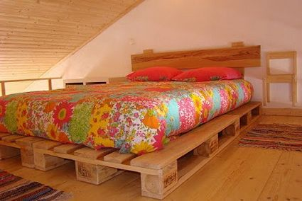 Camas hechas con palets de madera pallets pallet - Camas con palets ...