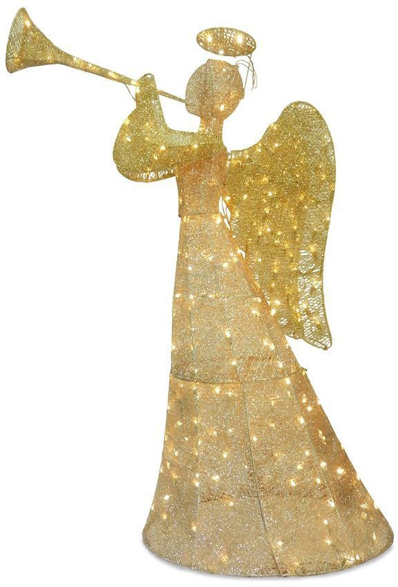 National Tree Company 60-in Pre-Lit Sisal Angel Christmas Decor - outdoor angel christmas decorations