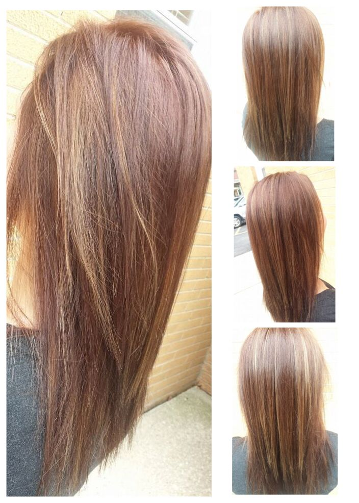 New Hair Color Mohagony Brown With Caramel Baby Lights And