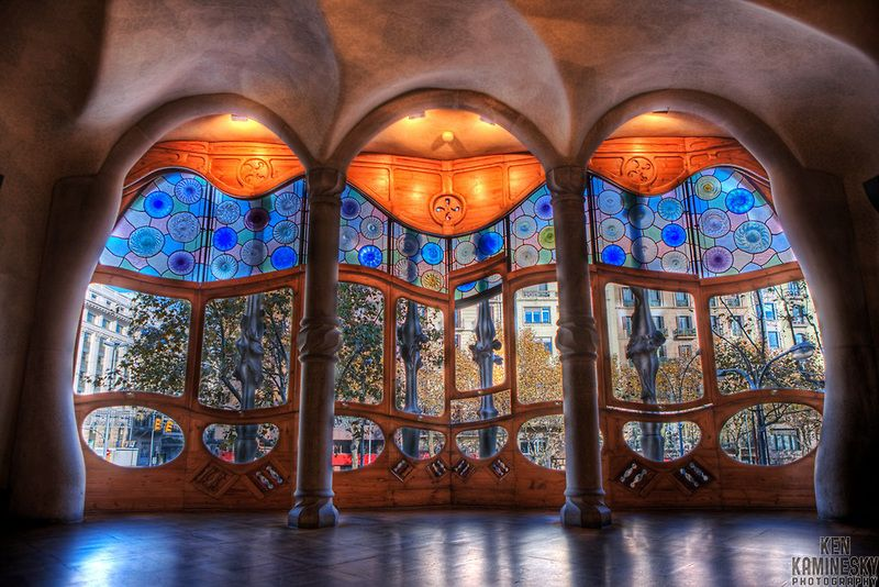 Casa Batlló, is a building restored by Antoni Gaudí and Josep Maria Jujol, built in the year 1877 and remodelled in the years 1904-1906; located at 43, Passeig de Gràcia (passeig is Catalan for promenade or avenue), part of the Illa de la Discòrdia in the Eixample district of Barcelona, Spain. The local name for the building is Casa dels ossos (House of Bones), and indeed it does have a visceral, skeletal organic quality.