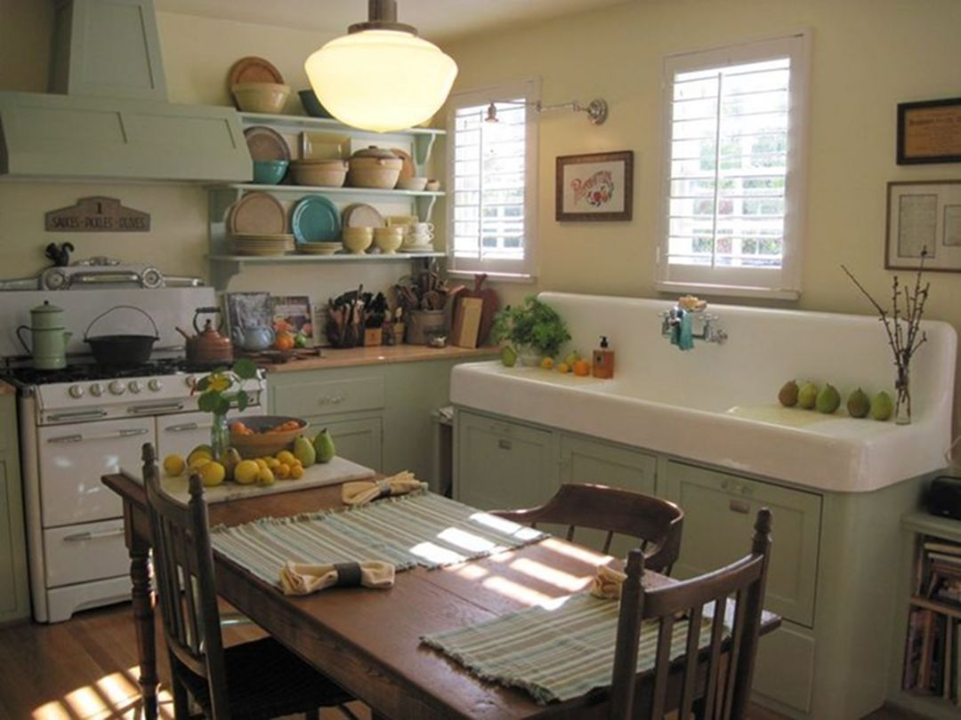 25 Gorgeous Retro Tiny House Farmhouse Kitchen Ideas #vintagekitchen