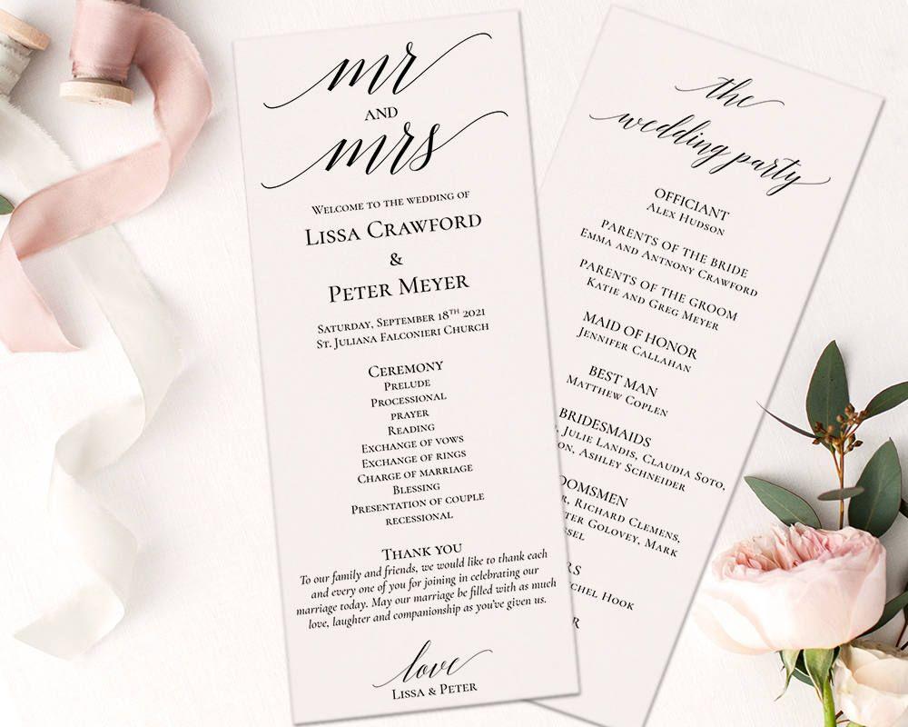 Wedding Program Template PDF, Instant Download Wedding Ceremony ...