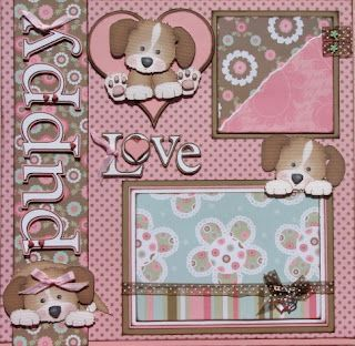 "The Avid Scrapper: ""Puppy Love"" Premade Scrapbook Pages, What a beautiful Puppy Page! Great work."