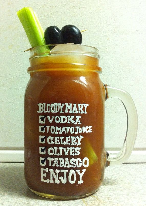 Bloody Mary Mug- hair of the dog- Love bloody marys-hand painted