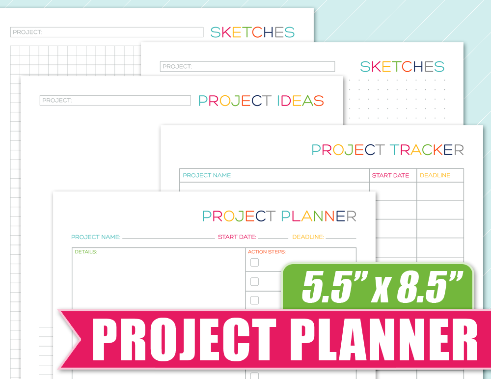 Project planner 5 5 x 8 5 half size printable for Half size set of plans